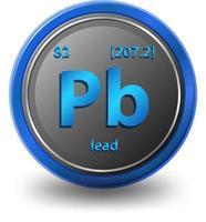 élément chimique en plomb. symbole chimique avec numéro atomique et masse atomique. vecteur