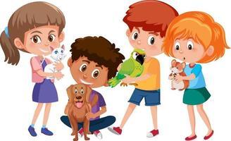 De nombreux enfants tenant leur personnage de dessin animé pour animaux de compagnie sur fond blanc vecteur