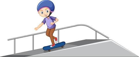 Garçon jouant au skateboard sur la rampe sur fond blanc vecteur