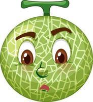 Personnage de dessin animé de melon cantaloup avec expression faciale vecteur