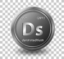 Élément chimique darmstadtium. symbole chimique avec numéro atomique et masse atomique. vecteur