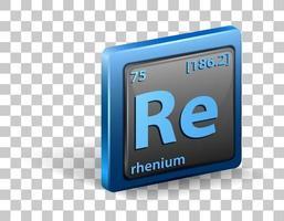 élément chimique rhénium. symbole chimique avec numéro atomique et masse atomique. vecteur