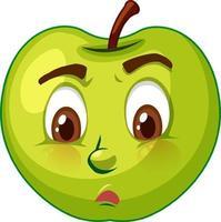 personnage de dessin animé de pomme avec expression faciale vecteur