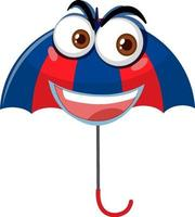 parapluie avec expression de visage sur fond blanc