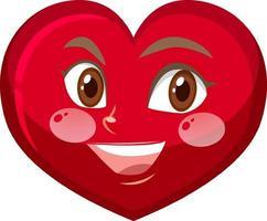 personnage de dessin animé coeur avec expression faciale vecteur