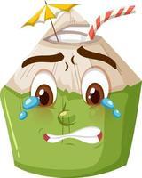 Personnage de dessin animé mignon de noix de coco avec l'expression du visage qui pleure sur fond blanc vecteur