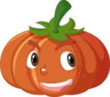 Personnage de dessin animé mignon citrouille avec expression de visage heureux sur fond blanc vecteur