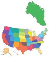 carte vectorielle couleur usa avec tous les états et le groenland