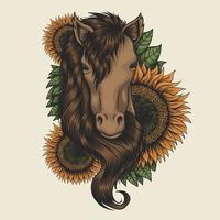 illustration vectorielle de tête de cheval tournesol vecteur