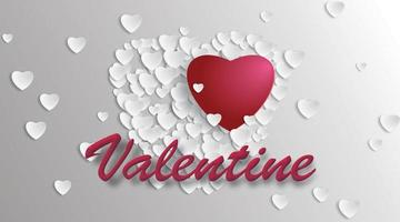 conception de coeur d'amour avec illustration vectorielle 3d. pour le fond de la Saint-Valentin
