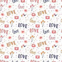 modèle sans couture avec grande collection d'objets d'amour et de symboles pour la Saint Valentin heureuse. illustration plate colorée.