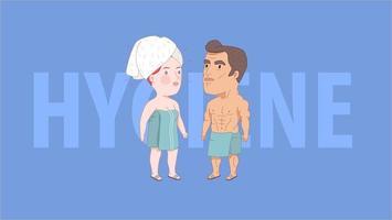 après la douche, hygiène. homme et femme enveloppés dans les serviettes vecteur