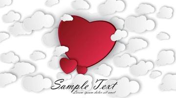 fond de jour de valentines heureux. art du papier, coeur d'amour rouge entouré de nuages. illustration vectorielle de conception