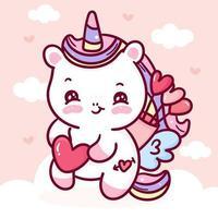 Cupidon de dessin animé mignon licorne pegasus pour la saint valentin kawaii vecteur