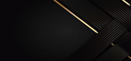 modèle abstrait triangle noir fond avec des lignes rayées dorées. style de luxe. vecteur