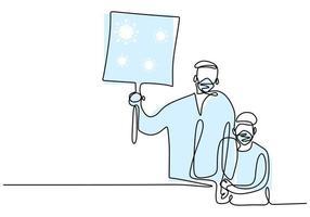 dessin au trait continu père et fils. vecteur