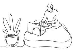 un dessin au trait continu d'une fille assise sur son canapé. vecteur