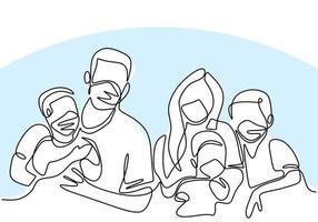 dessin au trait continu d'une famille portant des masques médicaux de protection et restant à la maison pendant la pandémie de covid-19. vecteur