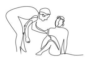 un dessin au trait de personnes aide les autres. jeune homme aidant l'autre homme qui est tombé montre un geste de solidarité. journée humanitaire. concept de soutien mutuel. illustrations vectorielles de style minimal