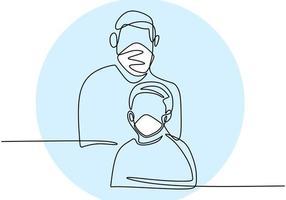 dessin au trait continu père et fils. papa et son enfant avec un masque protecteur pour prévenir l'infection virale. s'habituer à vivre propre et sain dans une nouvelle normalité. covid19. illustration vectorielle vecteur