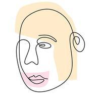 un dessin au trait continu du visage abstrait de l'homme. contour minimaliste moderne de ligne continue art homme et femme.