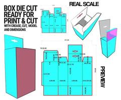 boîte modèle de cube découpé avec aperçu 3D organisé avec coupe, pli, modèle et dimensions prêts à découper et imprimer, pleine échelle et entièrement fonctionnel. préparé pour du vrai carton
