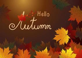 feuilles d'érable d'automne sur fond marron