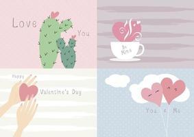 conception de carte de la saint valentin amour concept illustration vectorielle