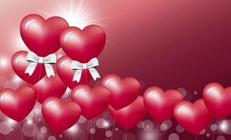conception de concept d & # 39; amour de ballon coeur sur fond rouge Saint Valentin et illustration vectorielle de mariage