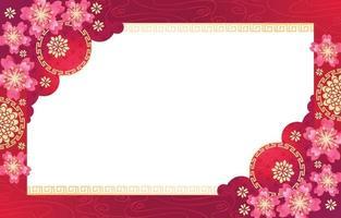 nouvel an chinois floral rose avec fond rouge vecteur