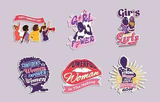 journée internationale de la femme stickers vecteur