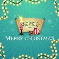 joyeux noël, carte postale carrée avec cadeau avec bougie de noël, vieux parchemin, boule de noël et cône vecteur