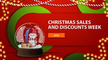 Vente de Noël et semaine de remise, bannière web moderne horizontal lumineux rouge avec bouton et boule à neige avec bonhomme de neige