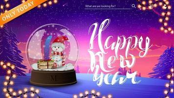bonne année, carte de voeux avec boule à neige avec bonhomme de neige et paysage d'hiver sur le fond
