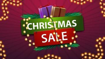 vente de Noël, bannière en style cartoon avec cadeaux et guirlande.