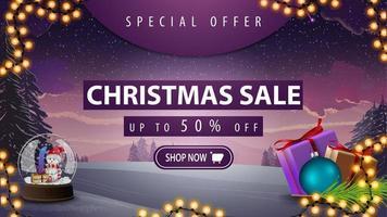 offre spéciale, vente de Noël, jusqu'à 50 de réduction, belle bannière de réduction avec paysage d'hiver en arrière-plan