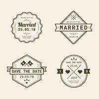 Collection de timbres de mariage vintage vecteur