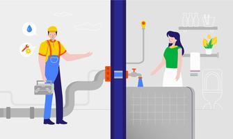Illustration vectorielle de plombier en streaming de l'eau propre