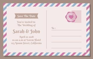 Carte postale vintage enregistrer l'arrière-plan de date pour l'invitation de mariage vecteur