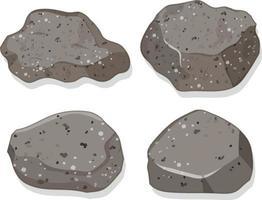 ensemble de pierres de granit isolé sur fond blanc vecteur