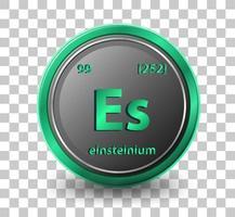 élément chimique einsteinium. symbole chimique avec numéro atomique et masse atomique. vecteur