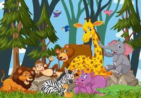 personnage de dessin animé de groupe d'animaux sauvages dans la forêt vecteur