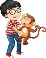 garçon tenant un petit singe isolé sur fond blanc vecteur