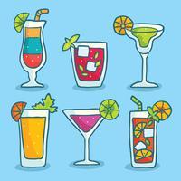 Vecteur de collection cocktail dessiné à la main