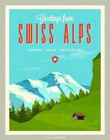 Salutations de vecteur de carte postale rétro Alpes suisses