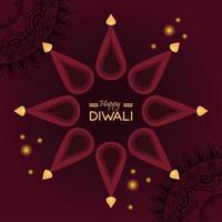 joyeuse fête de diwali avec des bougies autour du lettrage vecteur
