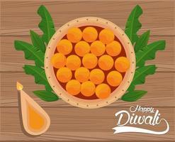 Joyeuse fête de diwali avec bougie et nourriture en fond de bois vecteur