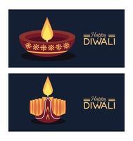 joyeuse fête de diwali avec deux bougies et lettrage vecteur