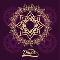 joyeuse fête de diwali avec mandala doré vecteur