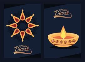 joyeuse fête de diwali avec bougie et lettrage vecteur